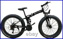 26 FAT Tire Mountain Bike 21 Speed MTB Frame Bicycle Full Suspension Men/Women