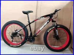 26 Fat Tyres Mountain Bike 7 Gear Speed Frame Strong Suspension Carbon Frame