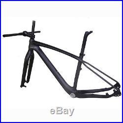 29er 17.5 Carbon MTB Bicycle Frame Fork Handlebar Stem Matt 142 Thru Axle BSA