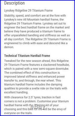 Bicycle Frame-Lynskey Titanium 2018 Ridgeline 29SL Extra Large