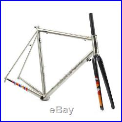 Chrome CR-MO Steel Road Bike Frame Carbon Fork 700C Classic Frameset TSUNAMI