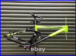 Cube 215 DH MTB Frame with shock, crankset, and headset