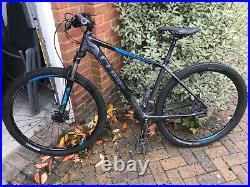 Cube mountain bike, black and blue. Frame Size 48cm, Wheel Size 29