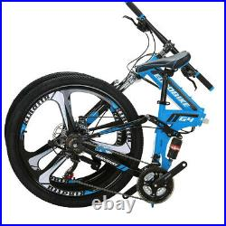 Foldable Mountain Bike Frame 26 Wheel Shimano 21 Speed Blue