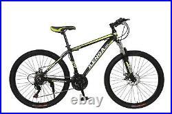 Hurricane 26 Alloy Frame Lightweight Mountain Bike Adults Bicycle Black/Yellow