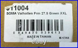 MTB 27.5 XXL 51cm Frame Candy Green Disk Brake Soma Valhallen 700c 650B Ships US