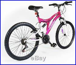 Muddyfox Phoenix 24 Inch Wheels Steel Frame Dual Suspension Bike Girls Pink