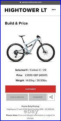 New Santa Cruz Hightower Bicycle frame Carbon 2020