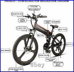 Samebike Electric Folding Mountain Bike 26 Wheel Suspension Mountain Frame