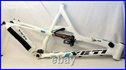 Yeti 575 20.5 Large Full Suspension MTB Bike Frame White/Teal Fox Float X CTD